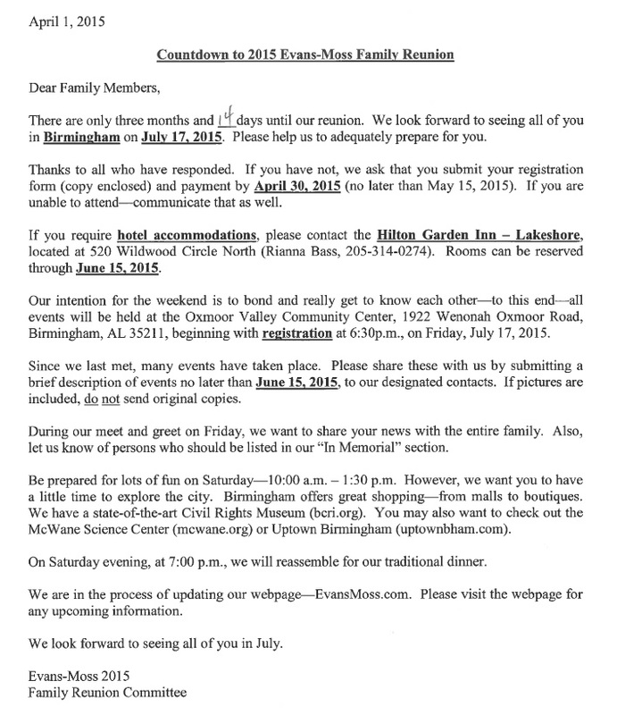 black family reunion welcome letter sample